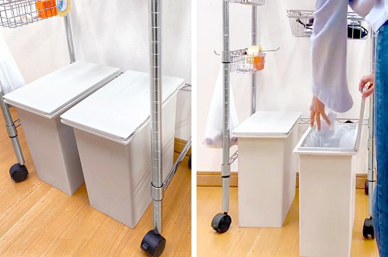 ルミナスのキッチンで使えるワイヤーバーでゴミ箱上収納ラック