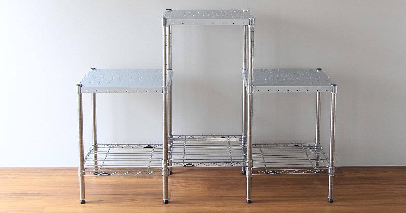 ホームエレクターレディメイドシリーズのパンチングシェルフはパンチング仕様のシェルフだから風通しがよく、衛生的