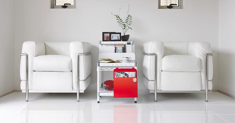 ホームエレクターレディメイドシリーズのパンチングシェルフの清潔感のあるホワイトカラー