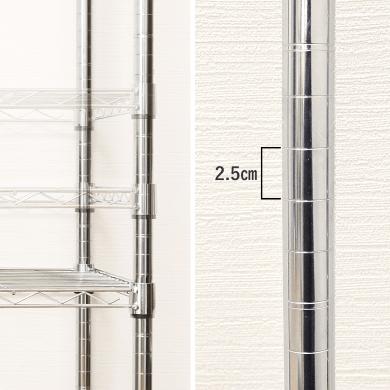 ルミナスレギュラースチールシェルフの棚の高さは2.5cm間隔で変更できる