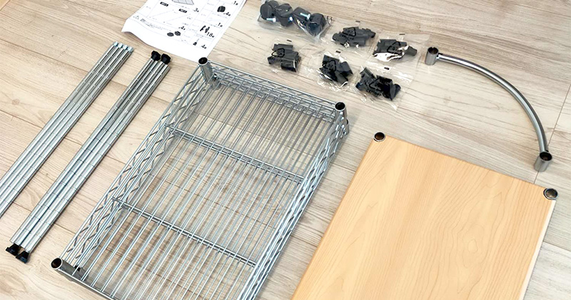 ルミナスの幅30×奥行45×高さ92.5cm4段のキャスター付キッチンワゴン