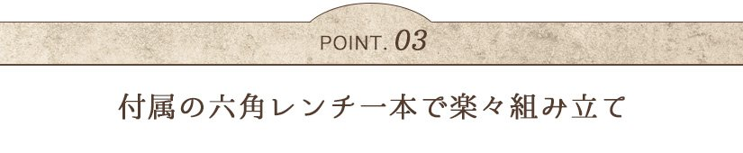 POINT03 付属の六角レンチ一本で楽々組み立て